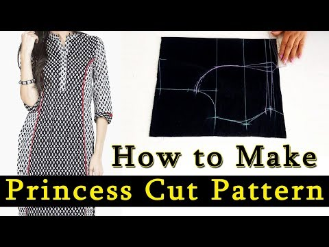 How to Make Princess Cut Pattern for Dresses / Kurtis / Tops | Princess Cut Pattern for all Sizes