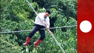 Tightrope no harness! Walkers brave hights of 30m, with mixed results...
