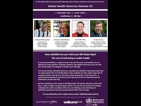 Global Health Histories Seminar 83: The Rise of Well-being in Public Health
