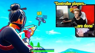 TFUE USES *AIM ASSIST* GLITCH on MOUSE and KEYBOARD in Fortnite!