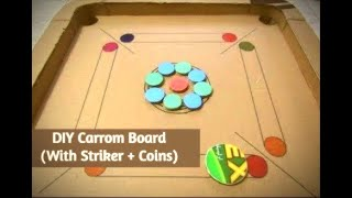 How to make a carrom board at home| Simple and easy DIY board game out of cardboard!
