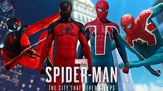 Spider-Man PS4 suits, with suits from The Heist dlc