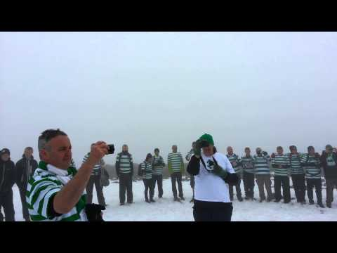 Highest Celtic fan huddle on Ben Nevis