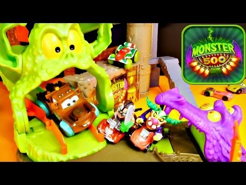Monster 500 Toxic Terror Trap Race Track + Pixar Cars 2 Play Doh Toys Review - Disney Cars Toy Club