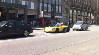 A very rare Renault Sport Spider accelerates in Hamburg