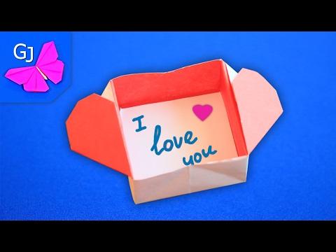 Оригами из бумаги ❤️ ВАЛЕНТИНКА КОРОБОЧКА С ЗАПИСКОЙ