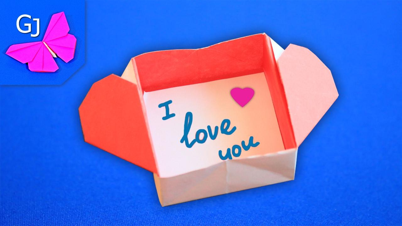 Оригами коробка сердце из бумаги 54
