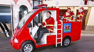Police car, Fire truck & Ambulance in kids indoor playground / Baby Songs about emergency vehicles