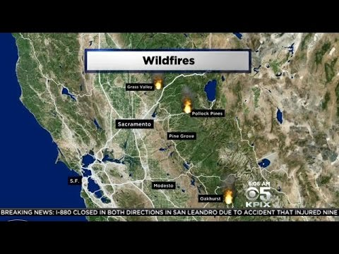 Hundreds Flee Wildfires In Northern California Near Sierra Nevada Foothills
