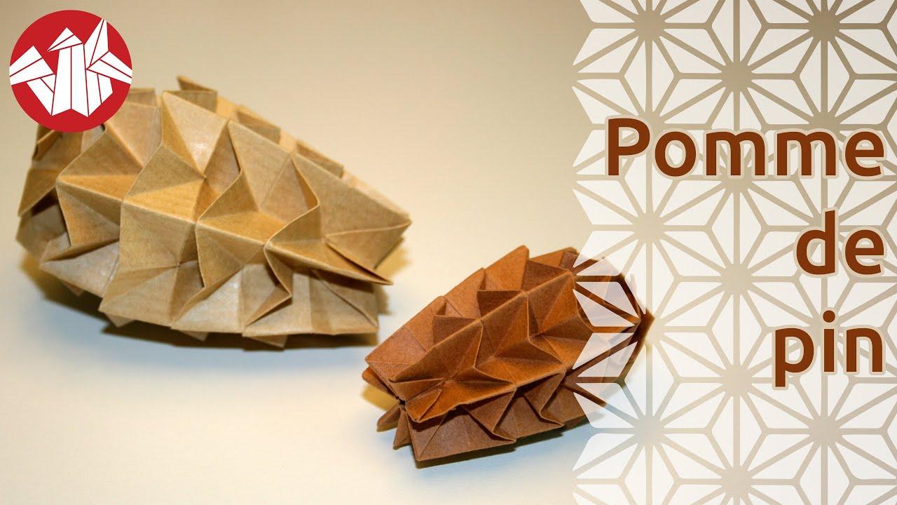 Origami pomme de pin youtube for Lampe pomme de pin