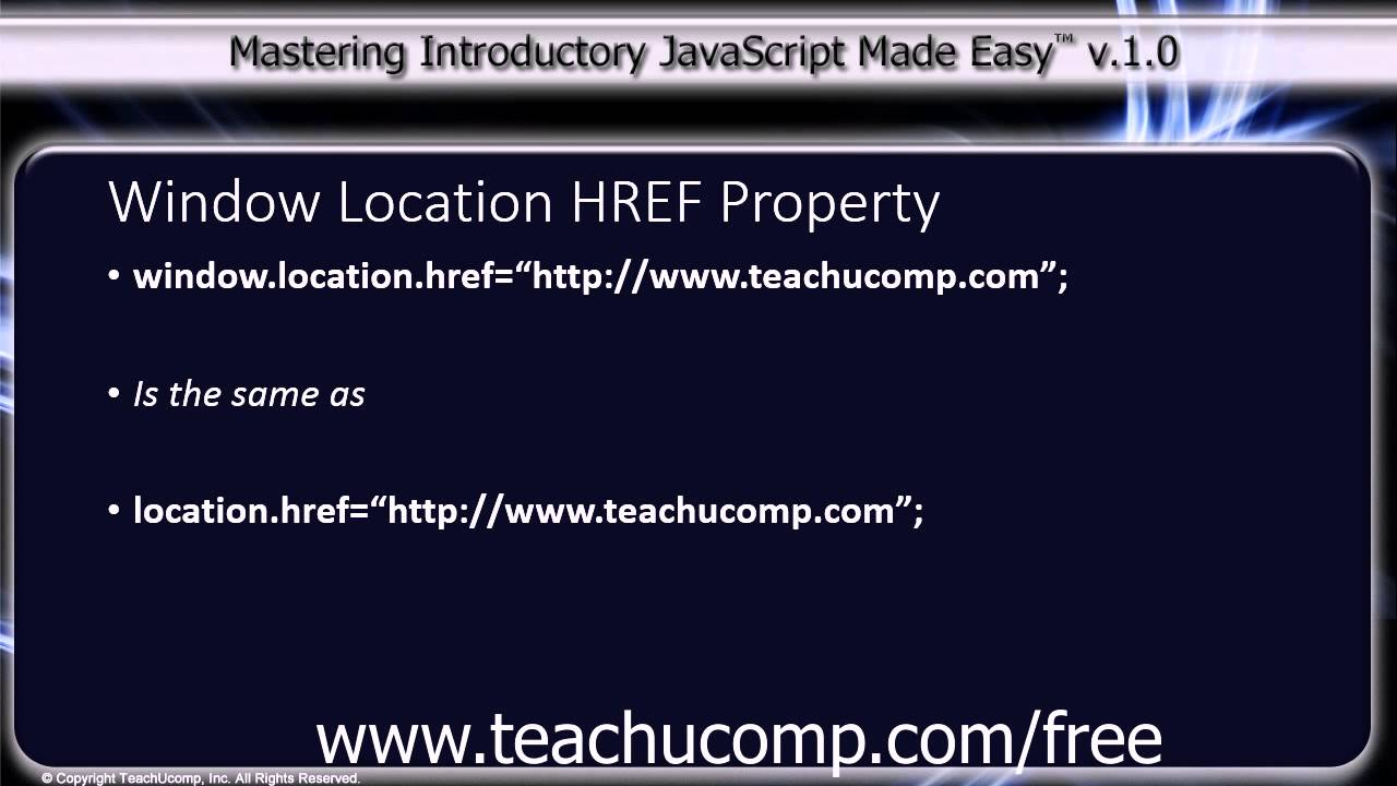 javascript training tutorial window location href property