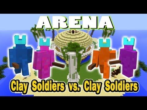 Minecraft Arena Battle Clay Soldier vs Clay Soldier Blue vs Purple vs Orange vs Pink