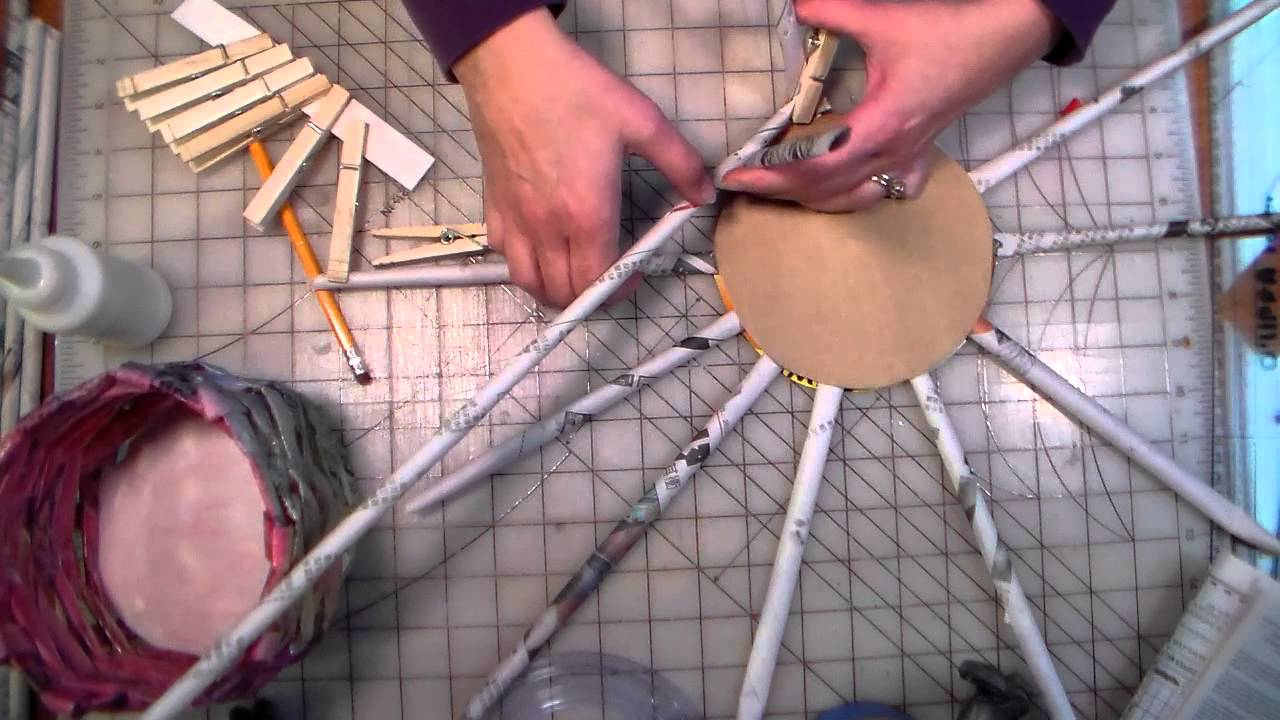 Newspaper basket tutorial youtube for How to make a newspaper bowl