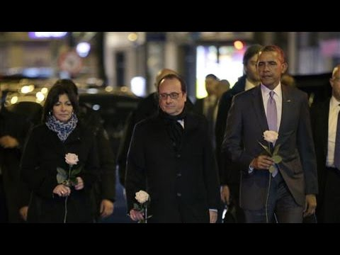 Obama Visits Bataclan Memorial in Paris