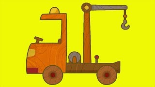 Carros de brinquedo. O caminhão guincho. Desenho animado para criancas.