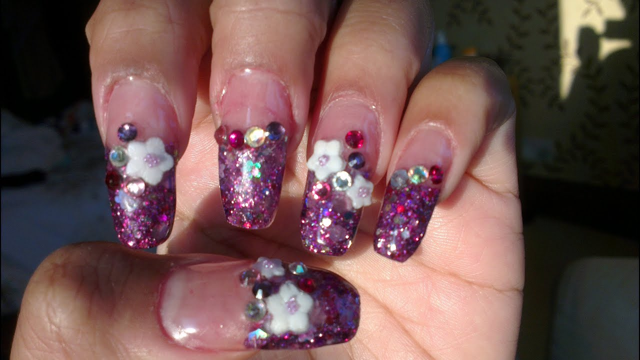 Acrylic Nails: Squoval Purple Petal Nails - YouTube