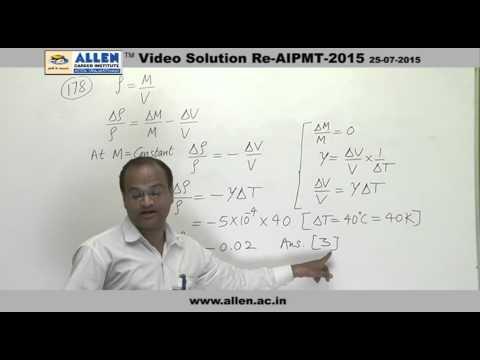 AIPMT 2015 Re-Exam Physics Solution – Q. No. 178, 179, 180 (Paper Code-A)