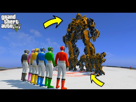 POWER RANGERS VS TRANSFORMERS PRIME BUMBLEBEE (GTA 5 Mods Funny Moments)