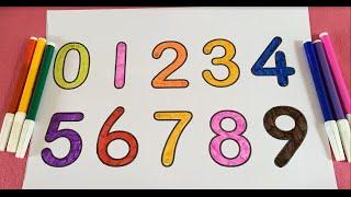 Bé học số đếm Tiếng Việt/  Dạy bé tô màu dãy số từ 0 đến 9/ Phát triển tư duy cho trẻ