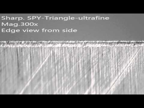 OPINEL 10 inox - porovnanie brúsnych materiálov - SPYDERCO Triangle