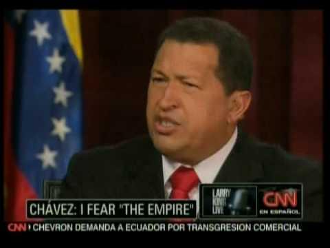 Larry King sudando en la entrevista con el Presidente Chávez 4de10