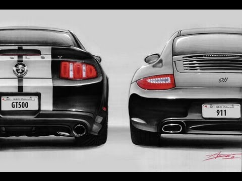 Mustang GT500 + Porsche 911 Black Edition drawing by Adonis Alcici