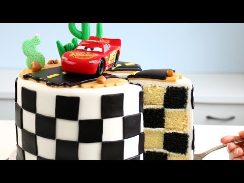 CARS 3 CAKE with CHECKERED Flag INSIDE!