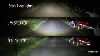 JW Speaker vs Truck Lite LED vs stock headlights on Jeep Wrangler JK