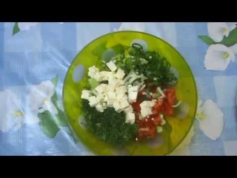 Овощной салат с сыром (брынзой)