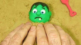 BabyHulk playing sand 💕Superhero Play Doh Stop motion videos for kids