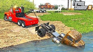 TORNADO AFTERMATH! SALVAGING RUSTY TRUCKS FROM LAKE (FLOODED) | FARMING SIMULATOR 2019