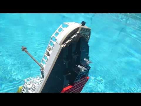 LEGO TITANIC SINKING: Recreation in my Pool