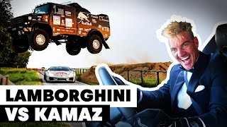 Kamaz Truck Jumps Over Drifting Lamborghini: Mad' Mike Whiddett vs Eduard Nikolaev | Goodwood 2019