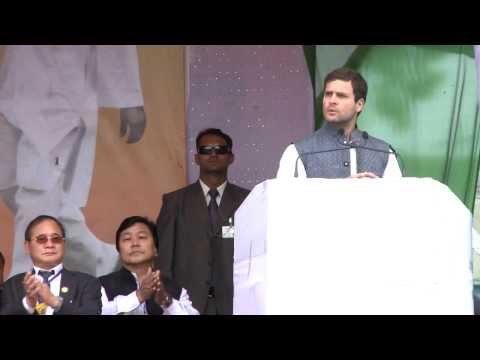 Rahul Gandhi Addressing a Public Rally in Arunachal Pradesh on March 18, 2014