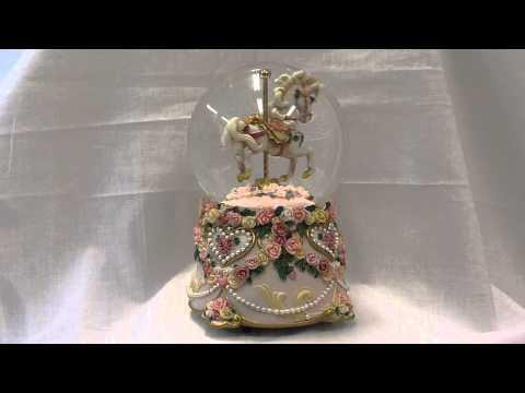 Hearts & Roses Carousel Horse Musical Water Globe