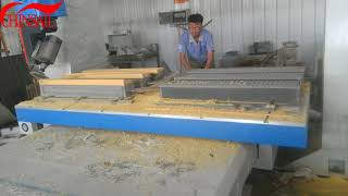 Five axis CNC router with saw working on wood