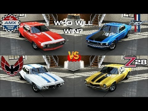 Forza 5 - Boss Mustang 302 vs Camaro Z28 vs Javelin AMC vs Firebird Trans Am at Laguna Seca