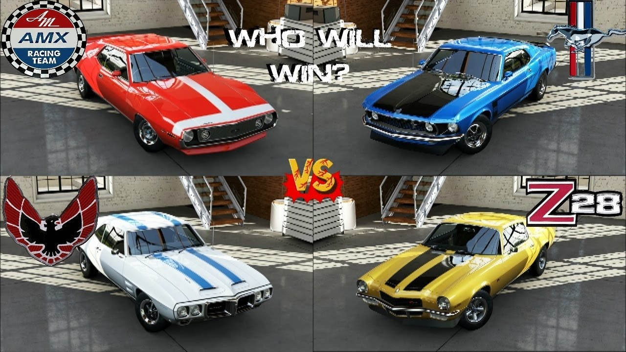 Mustang Z28 >> Forza 5 - Boss Mustang 302 vs Camaro Z28 vs Javelin AMC vs Firebird Trans Am at Laguna Seca ...
