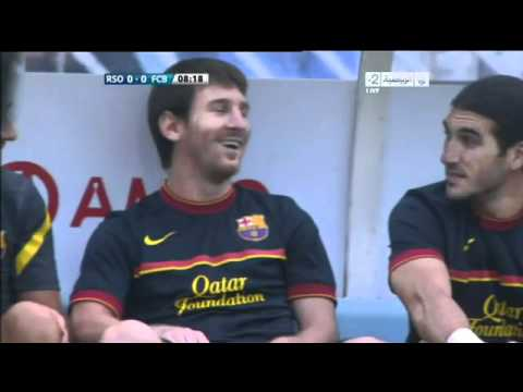 Messi Laughing at Mascherano against Real Sociedad 10/09/2011