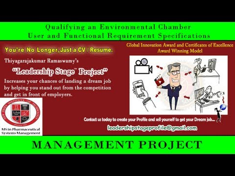 Leadership Stage Project - Qualifying an Environmental Chamber - User and Functional Requirement