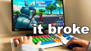 I Played Fortnite on The WORST Keyboard and WON