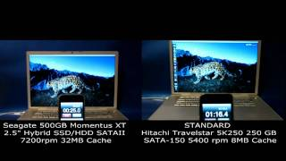 Seagate Momentus XT 500GB SSD/HDD Hybrid VS Hitachi Travelstar 5K250/ Macbook Pro A1260