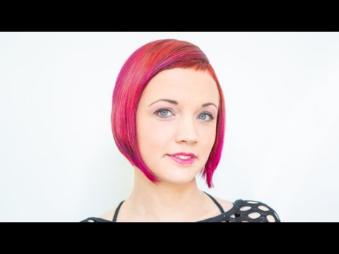 extreme bob haircut makeover short bangs ombre hair red color by anja ...