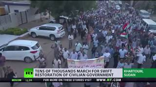 Tens of thousands of people protest against military rule in Sudan