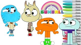 The Amazing World of Gumball Coloring Book Pages Darwin Chi Chi Ribbit Rainbow Splash