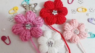 كورشيه ورده منتفخه مجسمه 6 بتلات خطوه بخطوه | Crochet flower 6 petals 3d | love Crochet