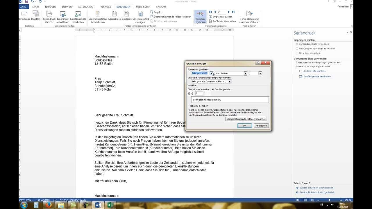 Word 2010/2013: Serienbrief erstellen mit Excel