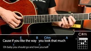 Love Yourself Chords tutorial guitarra guitar
