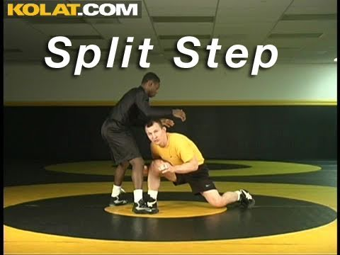 Split Step Level Change KOLAT.COM Wrestling Techniques Moves Instruction Image 1