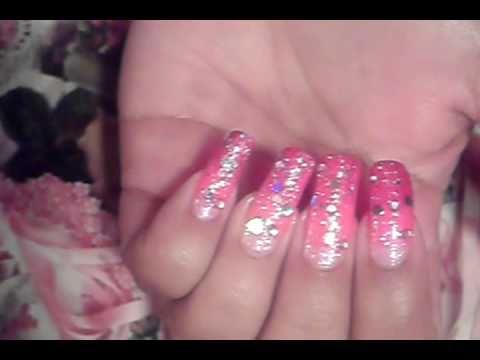 Pink Glitter Fadding Effect Ombre Gradient Nail Art Design Tutorial Video